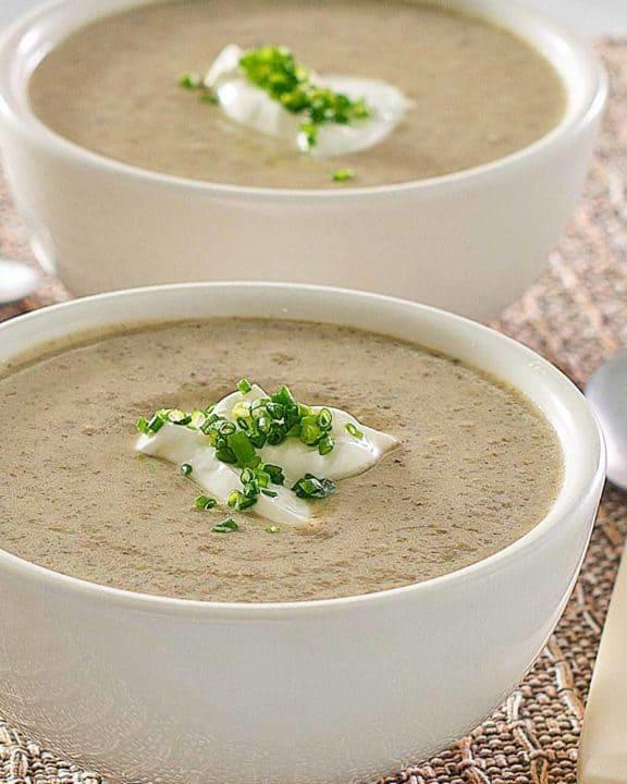 two bowls of homemade gluten-free cream of mushroom soup