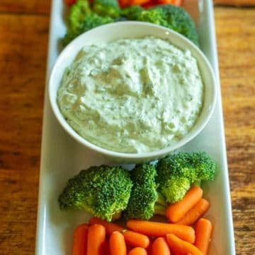 green goddess dip, broccoli, and carrots