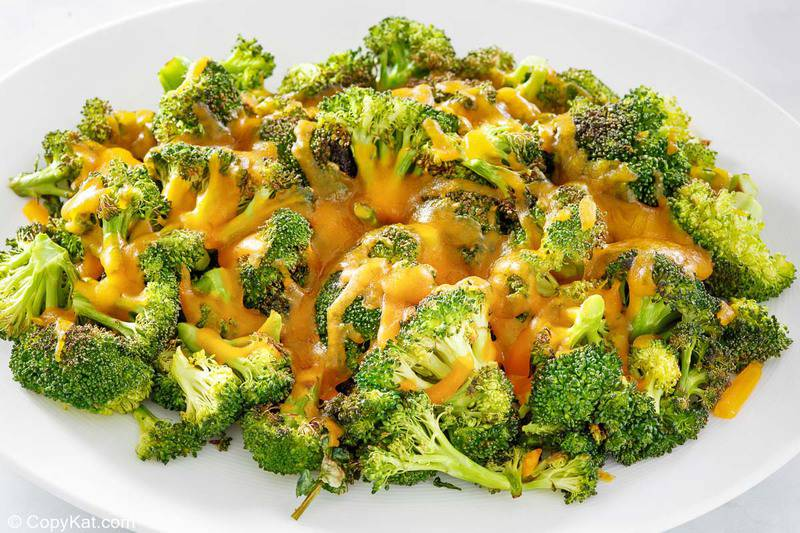oven roasted broccoli and cheese on a platter