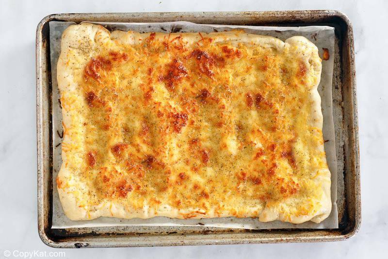 homemade Little Caesar's Italian Cheese Bread after baking