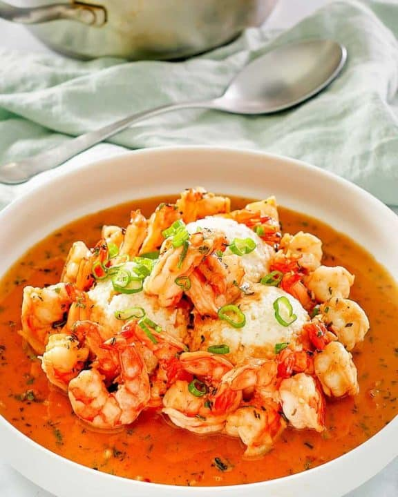a bowl of New Orleans shrimp and grits