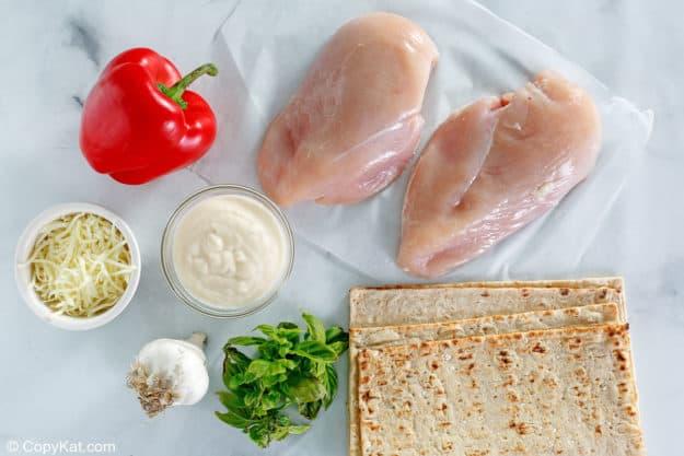 Olive Garden grilled chicken flatbread ingredients