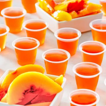 peach jello shots and peach slices