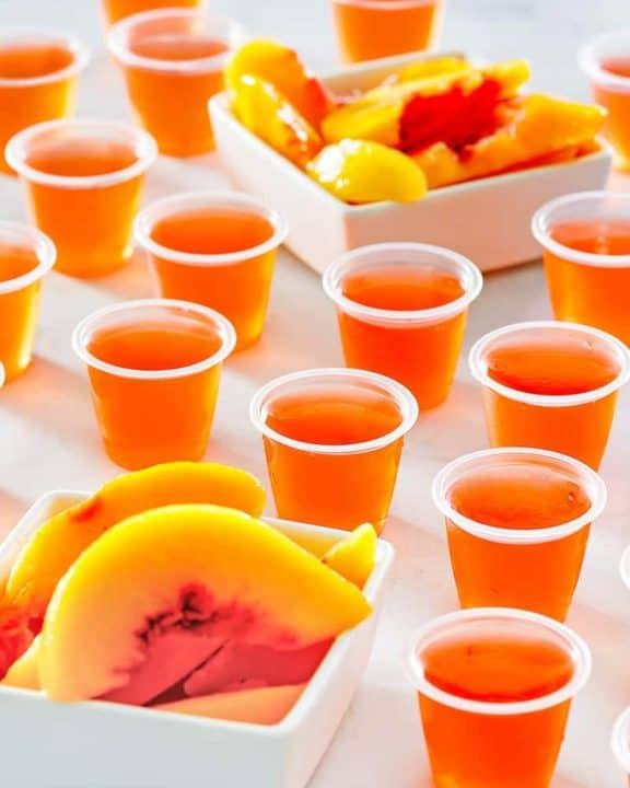 peach jello shots and peach slices