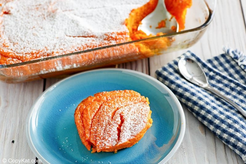 homemade Piccadilly carrot souffle on a plate and in a baking dish