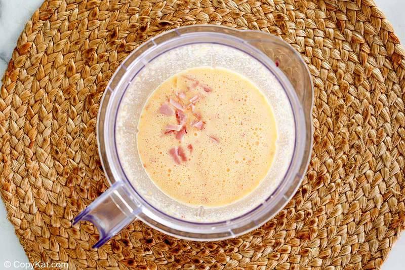 Starbucks ham and cheddar sous vide egg bites mixture in a blender