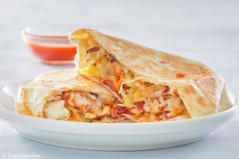 homemade Taco Bell Breakfast Crunchwrap with bacon on a plate