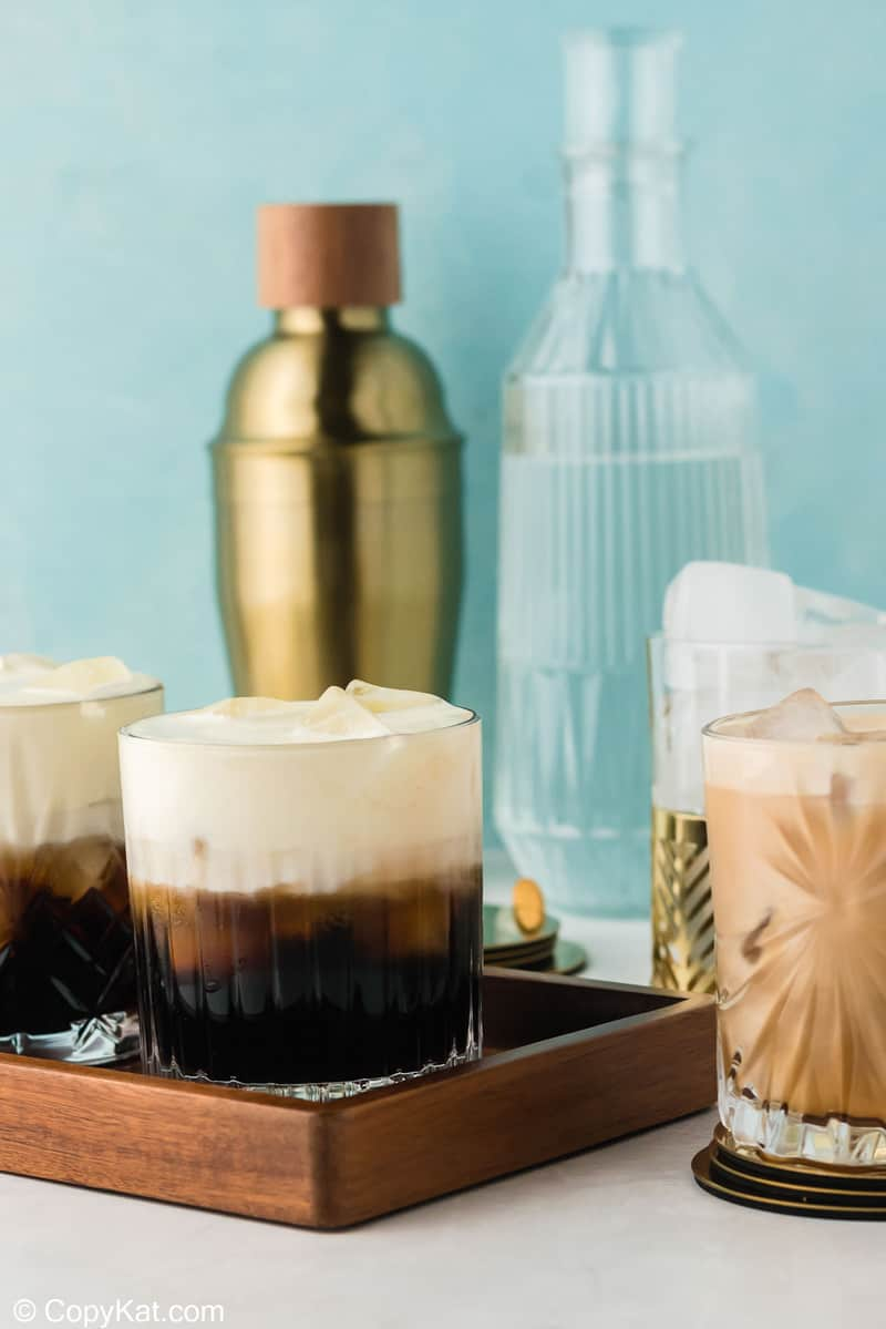 White Russian drinks in old fashioned glasses