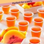 Several peach Jello shots and some peaches
