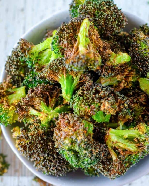 a bowl of air fryer broccoli