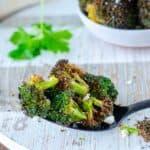 air fryer broccoli on a spoon