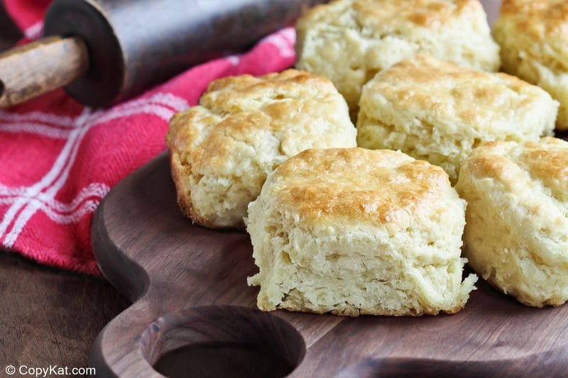 biscuits made with homemade Bisquick mix on a wood board