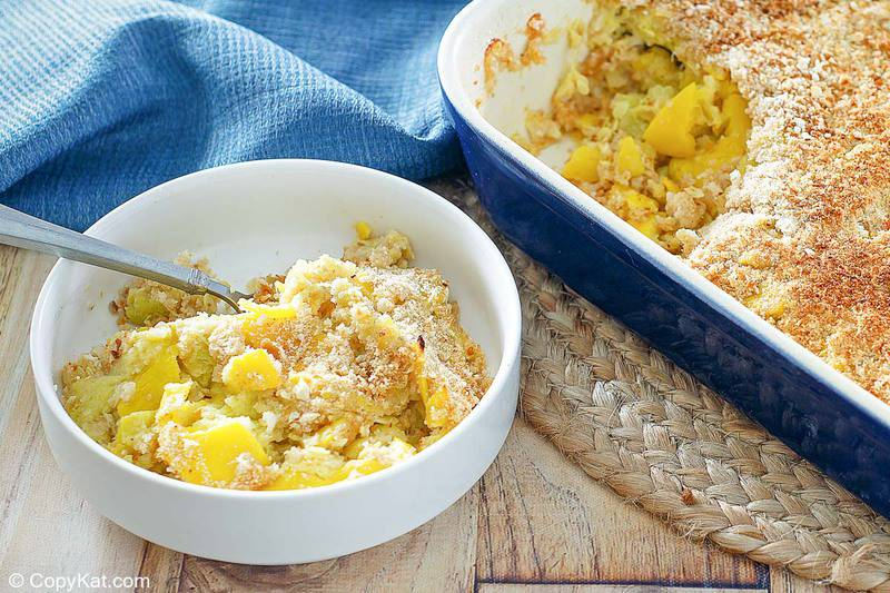 yellow squash casserole in a bowl and in a baking dish