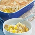 homemade Black Eyed Pea Yellow Squash Casserole in a bowl and baking dish