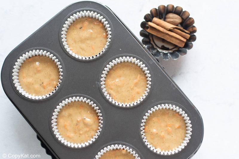 carrot cake cupcakes before baking