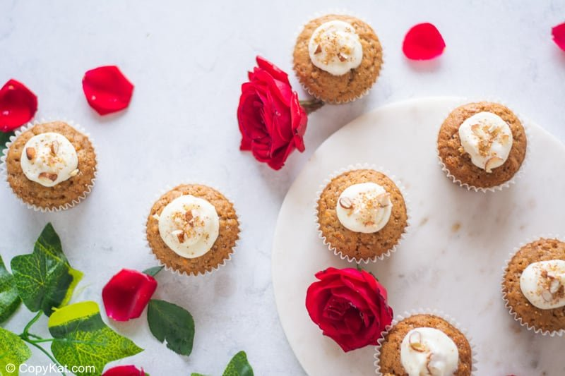 cream cheese filled carrot cake cupcakes and roses