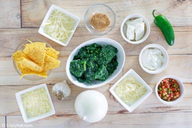 Cheddars Santa Fe spinach dip ingredients