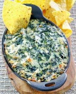 homemade Cheddar's Santa Fe spinach dip and tortilla chips