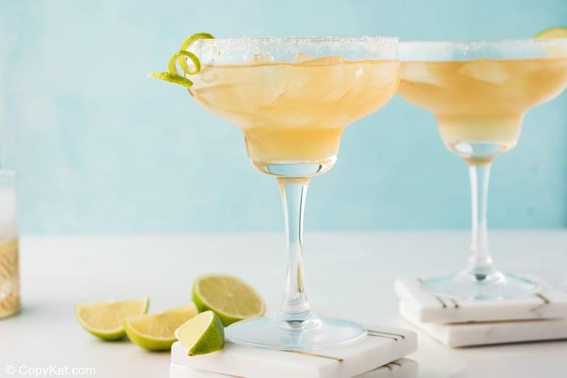 two homemade Chili's Presidente Margaritas