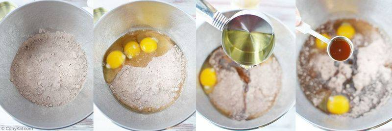 adding cake mix, eggs, oil, and vanilla into a mixing bowl
