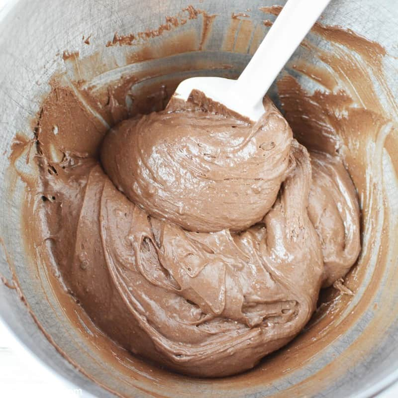 chocolate cake mix cookie batter in a bowl
