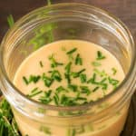 homemade Houlihan's honey mustard sauce in a mason jar