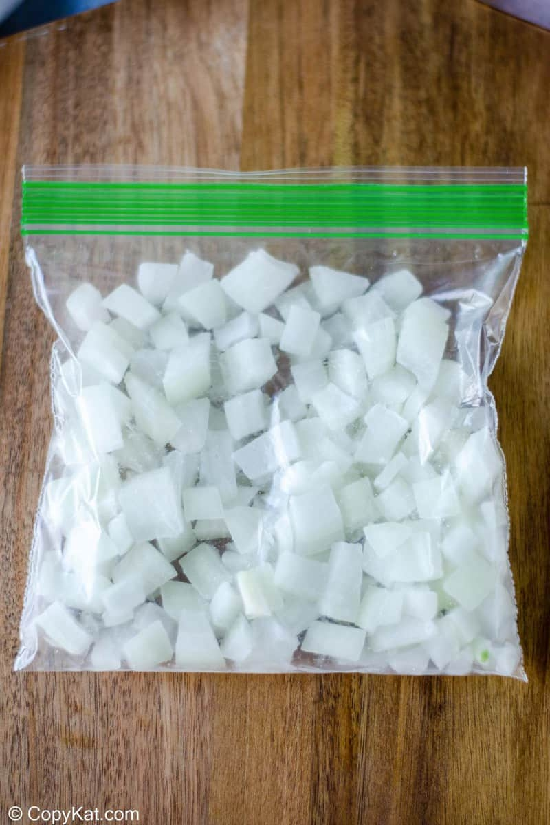 chopped onions in a bag