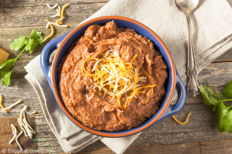 overhead view of a bowl of Instant Pot refried beans