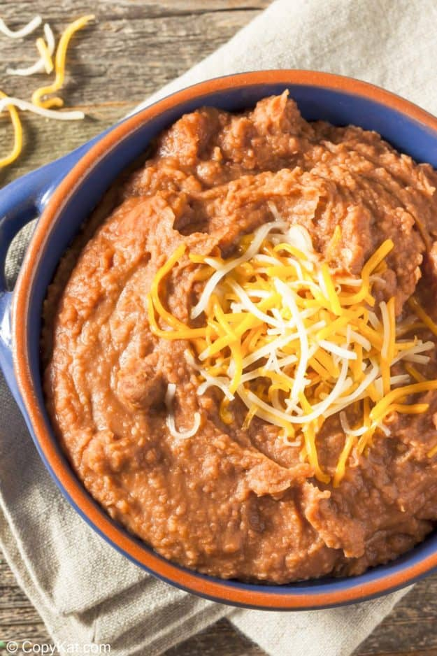 a bowl of refried beans made in the Instant Pot