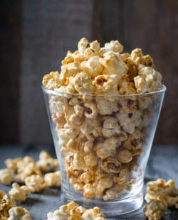 Karo syrup caramel popcorn in a glass