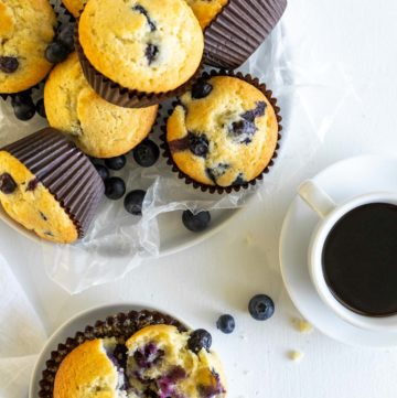 overhead view of blueberry muffins in a basket and on a plate