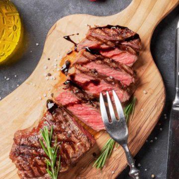 sirloin steak on a cutting board