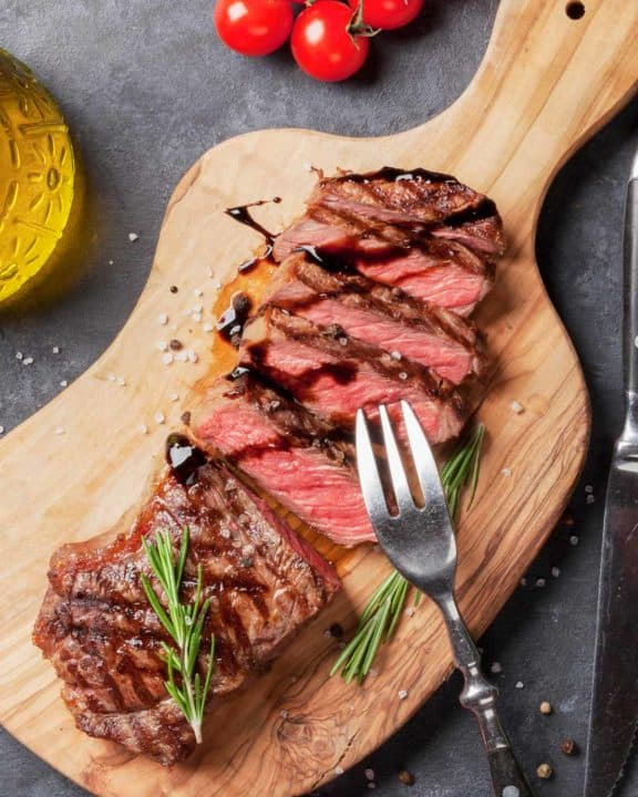 sirloin steak on a cutting board