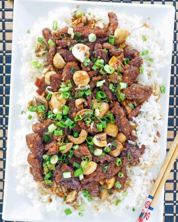 homemade Pei Wei Mongolian Beef and rice on a platter