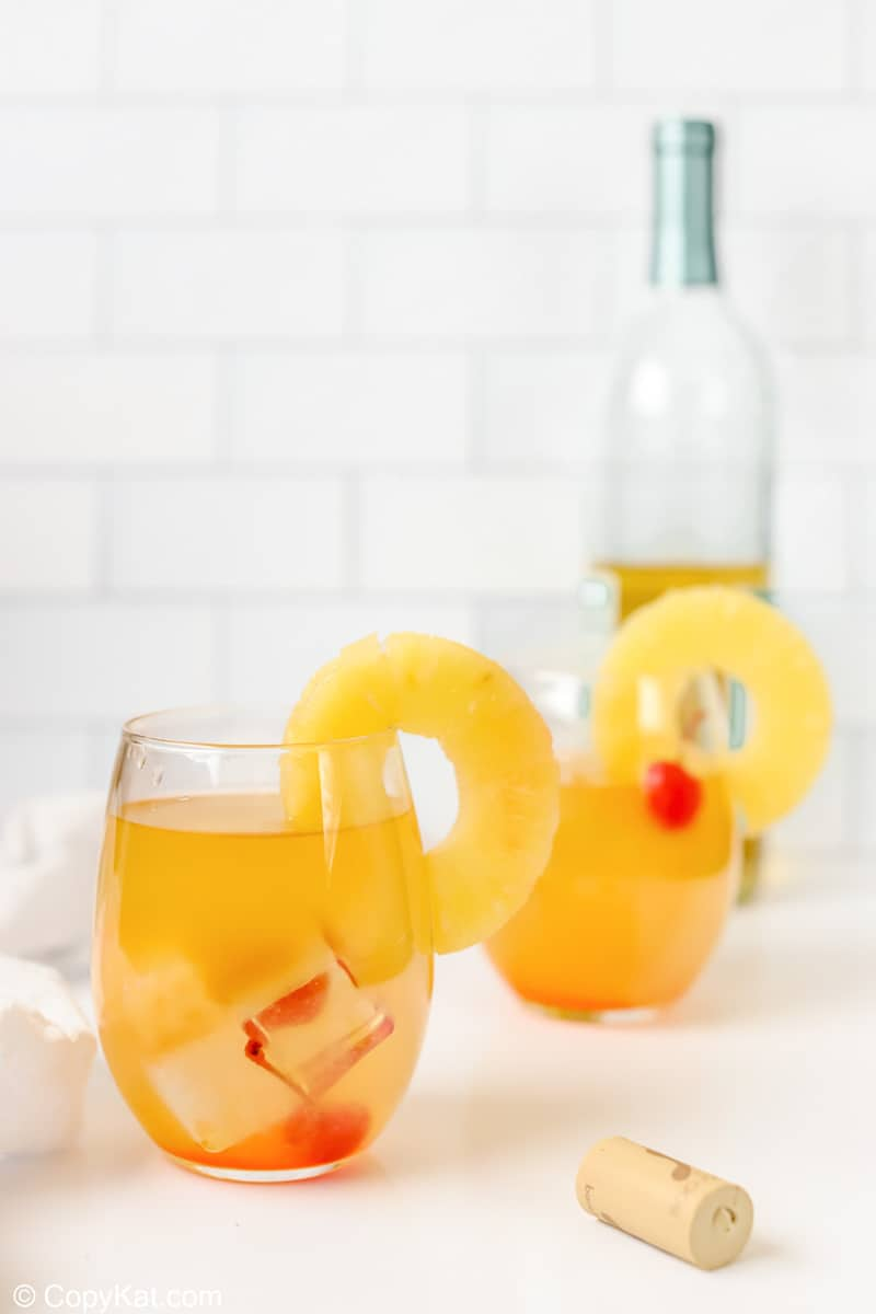 two glasses of pineapple white wine sangria