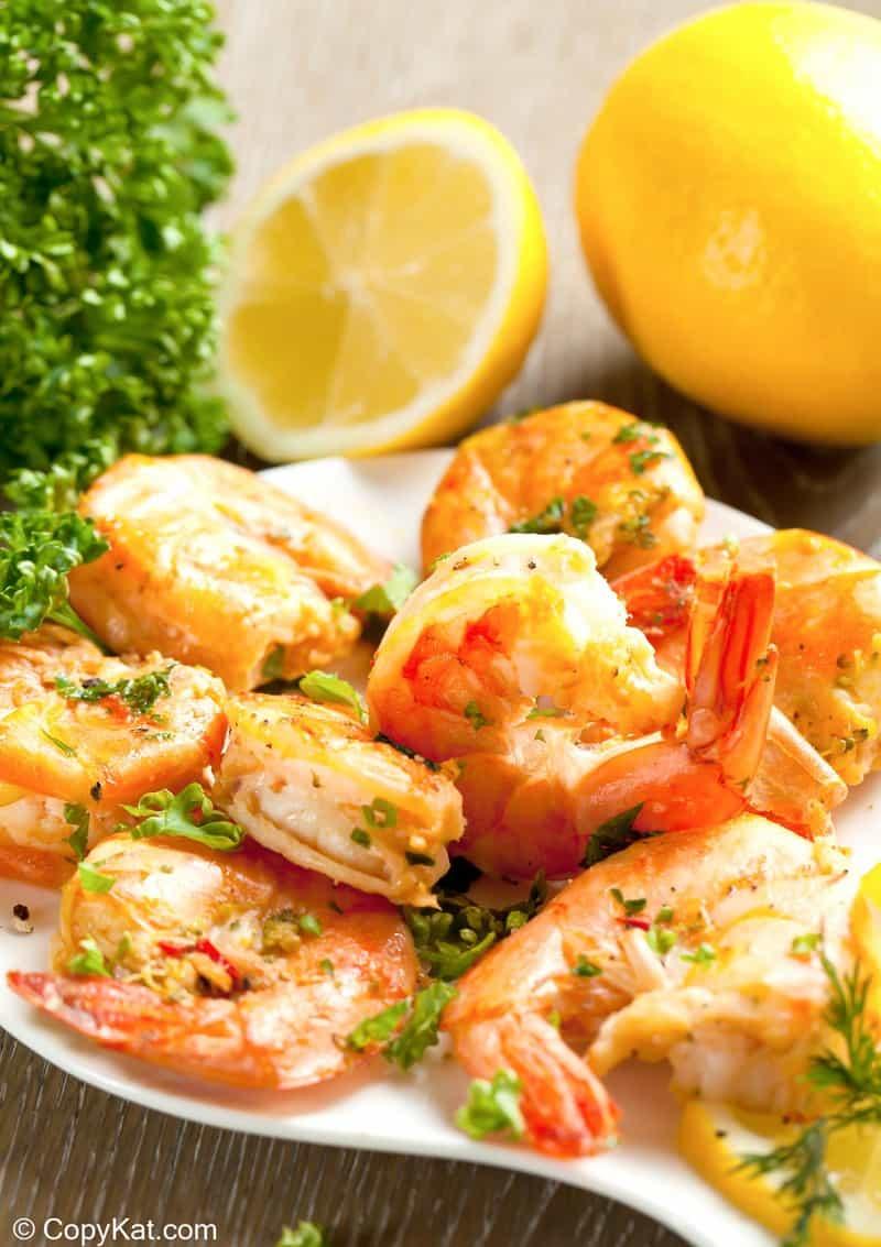 homemade Shrimp Wagon shrimp scampi on a serving dish