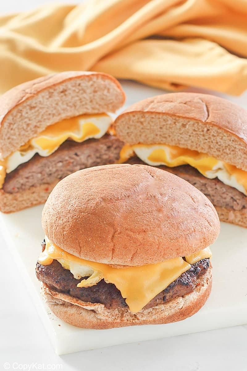 homemade Whataburger breakfast on a bun sandwiches