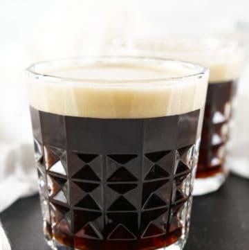 black velvet cocktail in a lowball glass