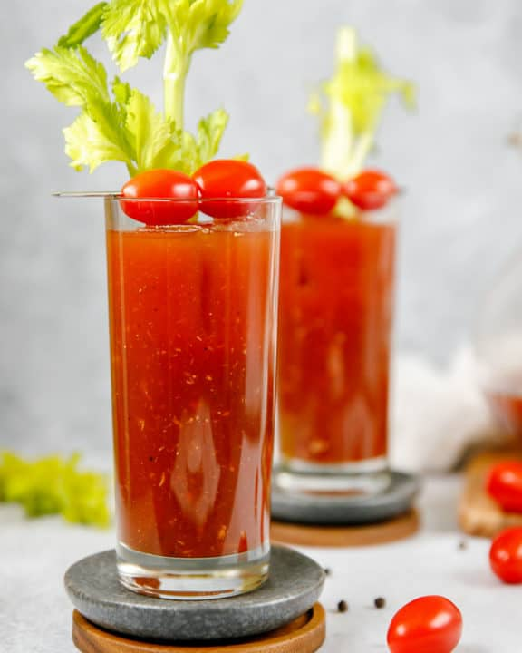 homemade bloody mary mix with vodka in a glass