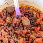homemade chili in a pot