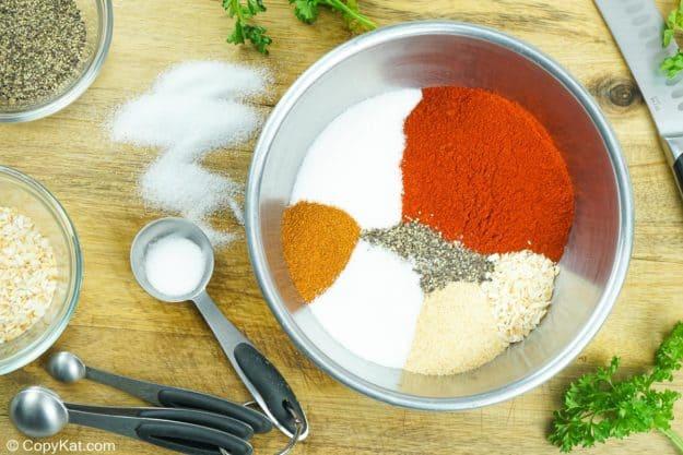 Ingredientes para frotar en seco las costillitas de chili