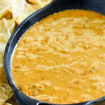 skillet chili con queso and tortilla chips