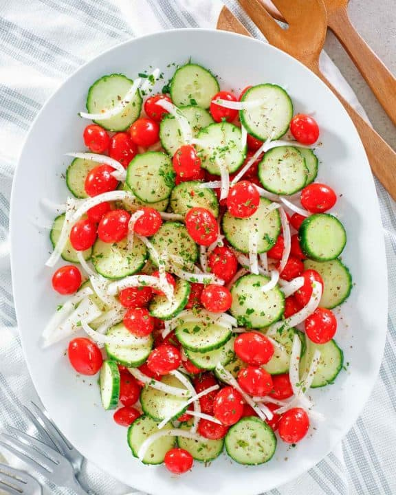 overhead view of homemade Cracker Barrel Cucumber Tomato and Onion Salad