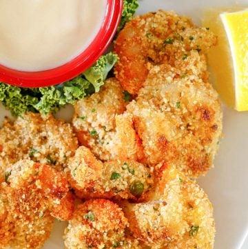 homemade Morton's shrimp alexander with beurre blanc dipping sauce