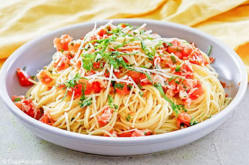 a bowl of copycat Olive Garden Capellini Pomodoro