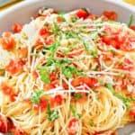 copycat Olive Garden Capellini Pomodoro and a fork