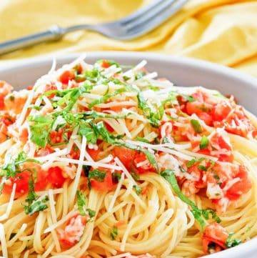 copycat Olive Garden Capellini Pomodoro in a bowl