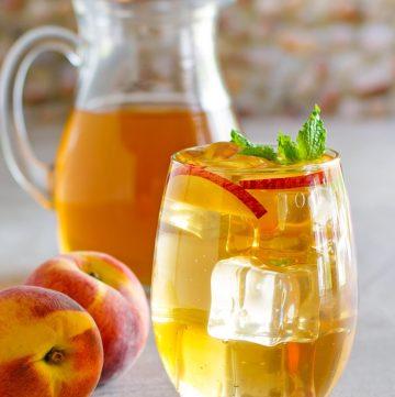 a glass of homemade Olive Garden peach iced tea