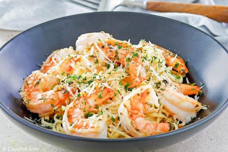 homemade Olive Garden Shrimp Christopher pasta in a bowl