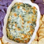 homemade Olive Garden spinach artichoke dip, crostini, and tortilla chips